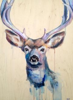 """Deer 18""""x24"""" Acrylic on panel"""