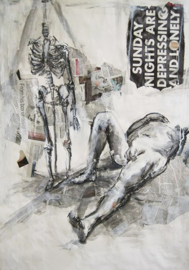 Your Mundane Life is Killing Me (headless man and skeleton) 23.4%22X33%22 acrylic paint, paper, collage, charcoal, wallpaper paste and graphite on paper